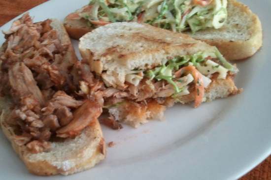 Lexington-style chopped BBQ sandwich on homeade sourdough bread with brussel sprout slaw.