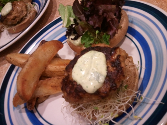 Roasted Jalepeno and Onion Turkey Burgers With Sprouts, Spring Lettuces, Avocado and Cilantro Garlic Aioli
