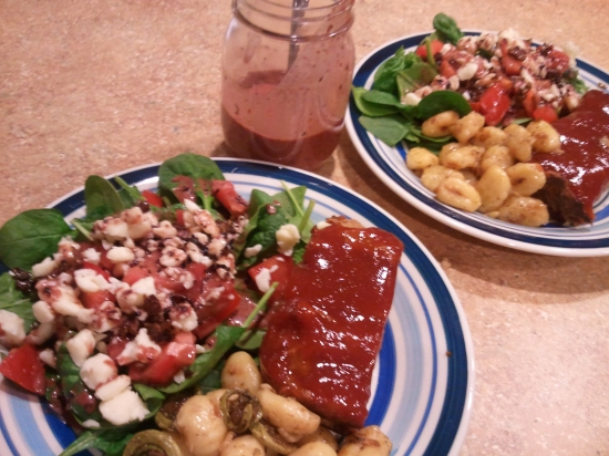 Brown Sugar Glazed Turkey Meatloaf with Brown Butter Gnochi, Fiddleheads, and a Spinach Salad with Fresh Cheese Curds, Bacon and Blueberry Vinagarette