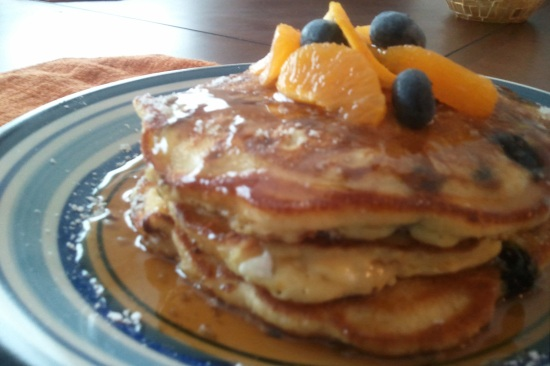 White Chocolate, Vanilla, Fresh Blueberry and Orange Zest Pancake Recipe