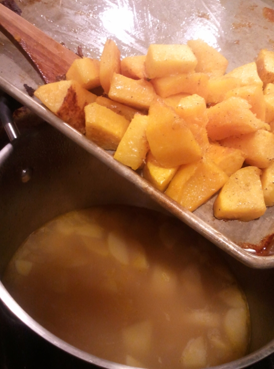Add squash into soup. Homeade Butternut And Apple Squash Soup