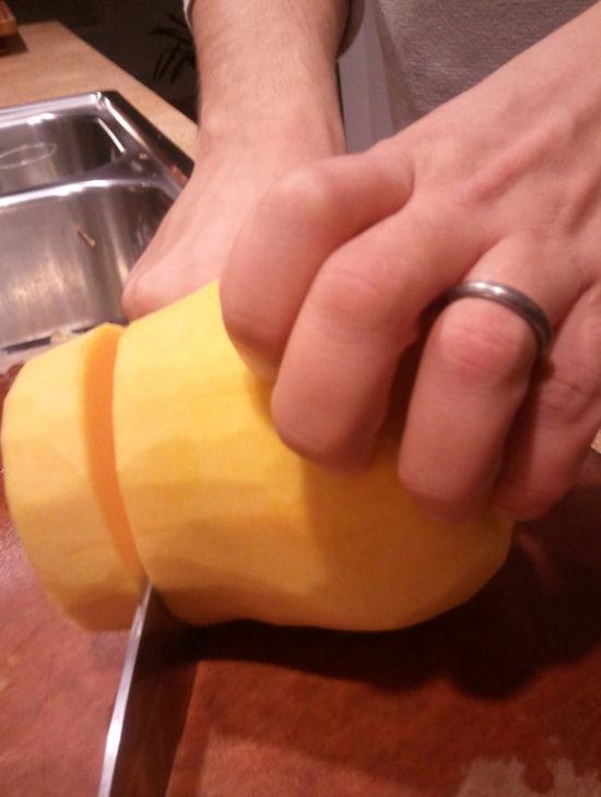 How to cut a squash. Homeade Butternut And Apple Squash Soup