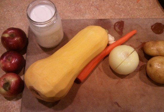 Mise en place. Homeade Butternut And Apple Squash Soup
