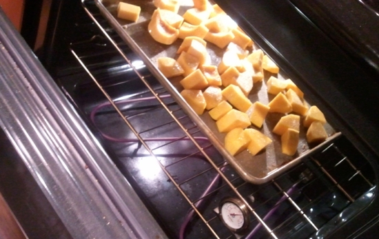 Roasting squash. Homeade Butternut And Apple Squash Soup