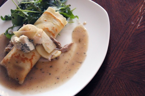 leftover turkey, apples and blue cheese crepe recipe