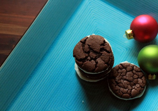 devils food cake cookie sandwiches
