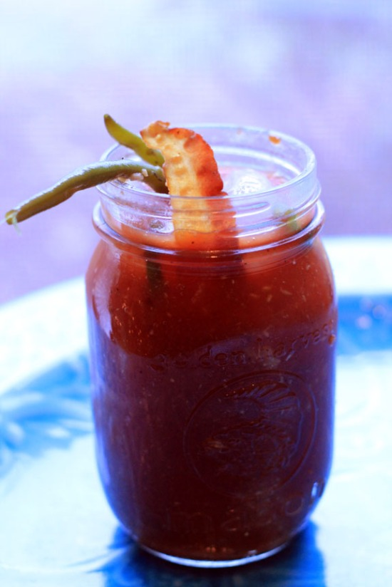 bloody mary with dilly beans and candied bacon