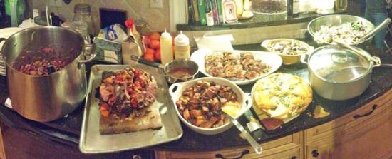 new years eve buffet line